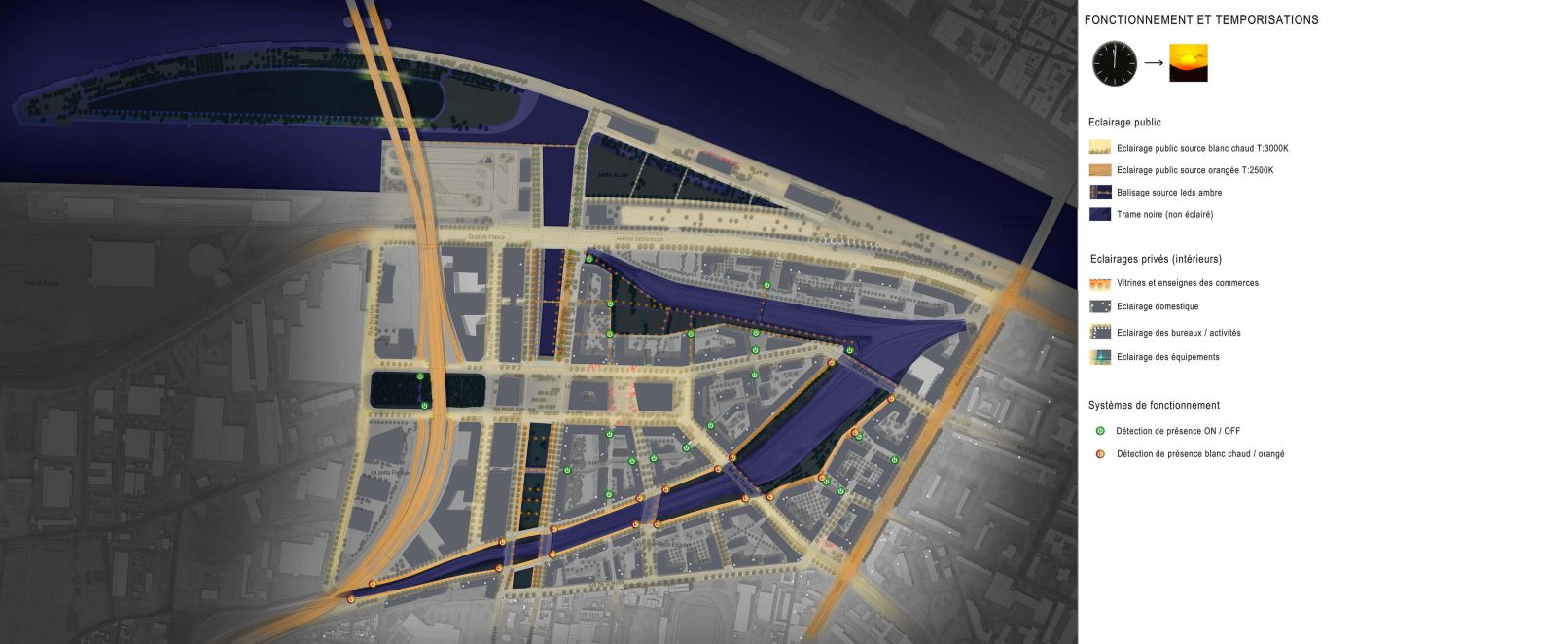 Plan lumière de nuit, écoquartier Flaubert à Rouen