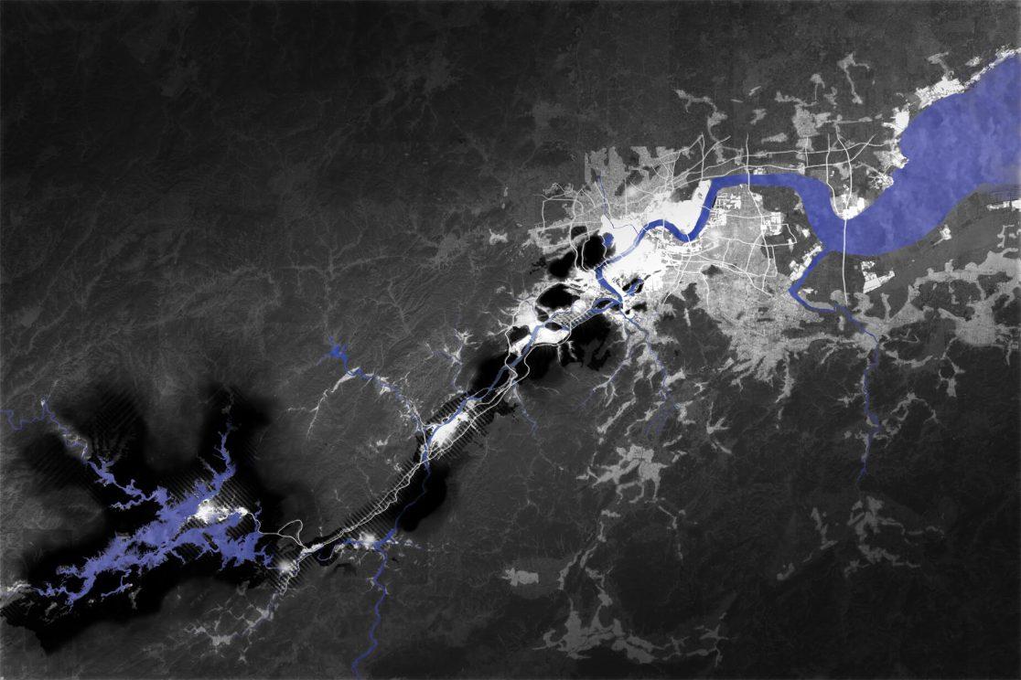 Plan lumière coeur de nuit, Qian tang River, Hangzhou