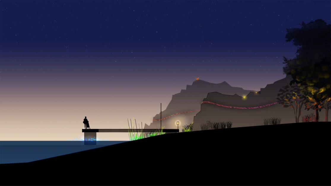 Jiangjiang Vallée, coupe des berges en début de nuit