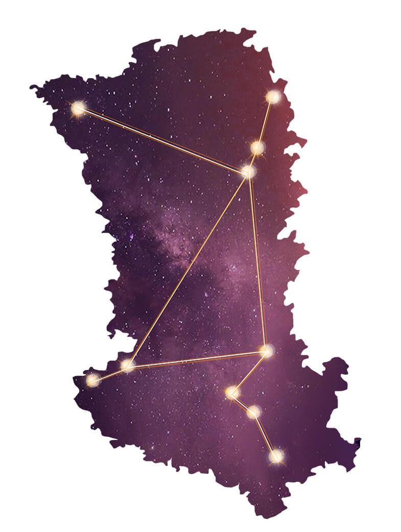Point de constellations sur la carte des Deux-Sèvres