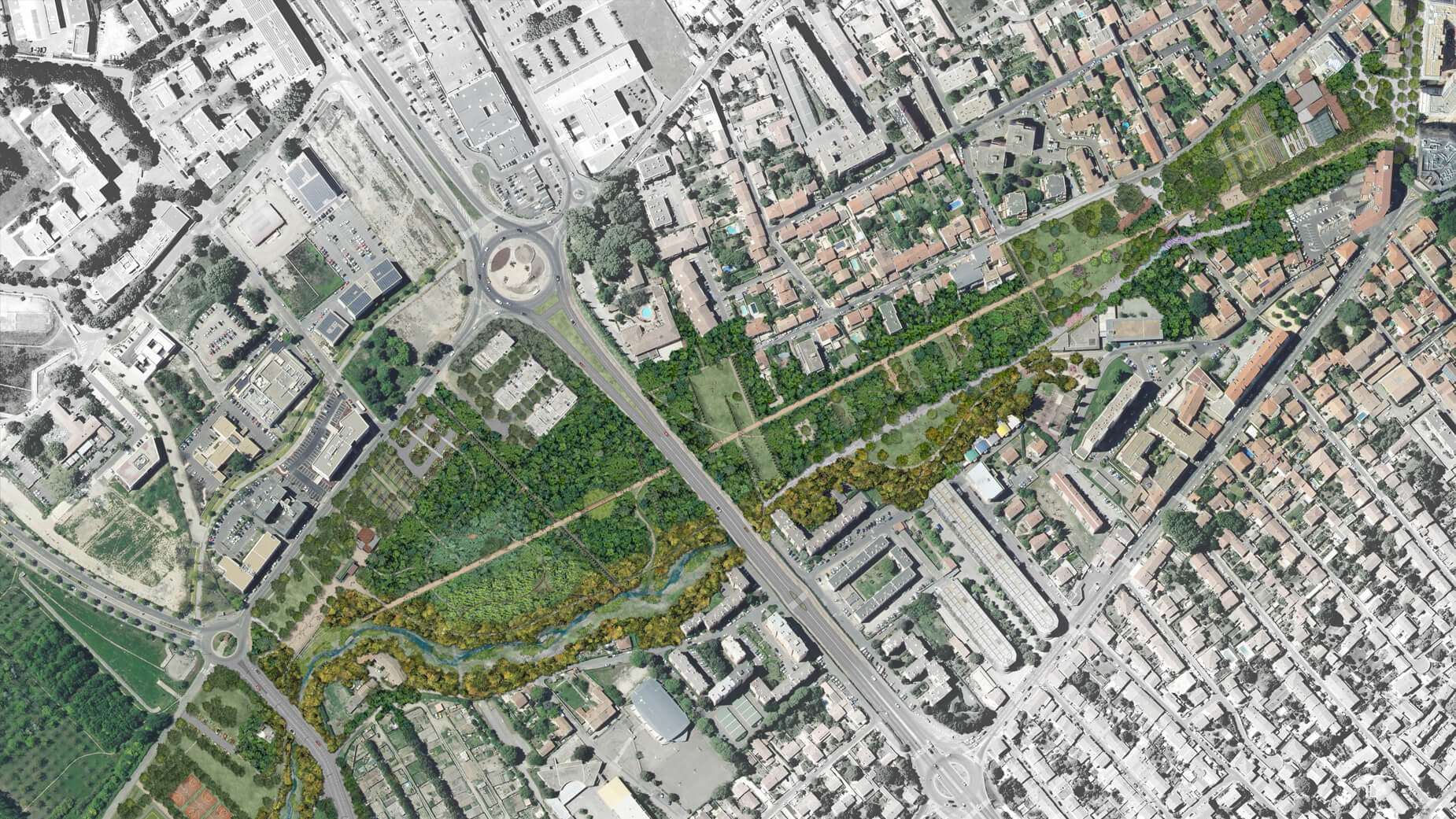 Plan masse Nîmes, parc Jacques Chirac